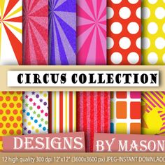 "carnival backgrounds ""CIRCUS GRUNGE"" digital papers/backgrounds: 300dpi JPG files / 12"" x 12"" / resize to fit your needs"