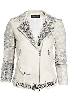 Embellished Flag Print Leahter Motocross Jacket by Balmain
