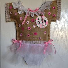 Baby girl hospital door hanger from Hen House Designs