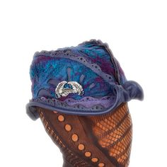 M/L Reveille Hat ~ Teal Blue & Purple Nuno w/Purple Leather