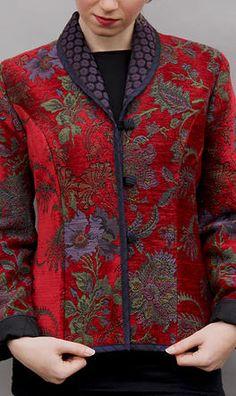 Bella Tu Selena Metallic Embroidered Jacket w/ Mandarin Collar in 2020 Batik Blazer, Blouse Batik, Batik Dress, Batik Fashion, Boho Fashion, Fashion Design, Batik Muslim, Embroidered Clothes, Embroidered Jacket