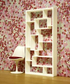 "Modern Miniature Dollhouse Bookcase/room Divider In 1:12, One Inch Scale, ""rc""…"
