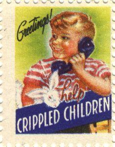 """1944 Easter Seal, """"Greetings! Help Crippled Children"""" #EasterSealsFL"""