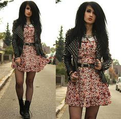 Shop In Frankfurt Studded Leather Jacket, Zara Floral Collar Dress, E Bay Fishnet Tights, Dr. Martens Boots