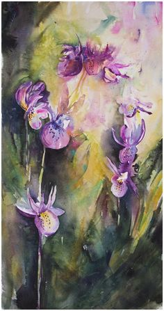 The Fun of Painting Flowers Calypso Orchids | watercolor by Angela Fehr http://angelafehr.com