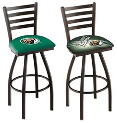 The NCAA officially licensed Bemidji State Beavers Bar Stool has a has a defined ladder back style with a black finish. Free shipping. Excellent quality. Visit sportsfansplus.com for details.