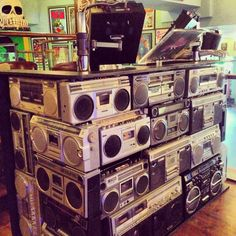 Repurposed old boomboxes / stereo boxes used as a DJ disc jockey booth - boards on top form a counter. Cool way to create a fast temporary display also, such as at a fairgrounds marketplace or concert sales table. #cSw:) - https://www.pinterest.com/claxtonw/music-studio-stuff/ - MUSIC STUDIO STUFF. doubles as MODERN ART also. Pinned via awesomemd MUSIC RELATED board.