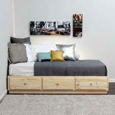 Gothic Cabinet Craft - Pine Captains Bed with Metal Tracks in Twin, $249.00 (http://www.gothiccabinetcraft.com/pine-captains-bed-with-metal-tracks-in-twin/)