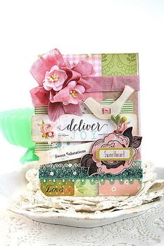 shabby chic card-DELIVER JOY BIRD-sweet salutations sweetheart