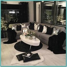 Apartment decorating black and white living rooms spaces 21 Ideas Glam Living Room, Living Room Decor Cozy, Living Room Sets, Living Room Decor Silver, Cozy Room, Decor Room, Black White And Grey Living Room, Black And White Living Room Decor, Black Living Room Furniture