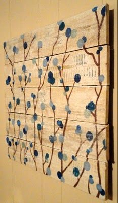 """Recycle a wooden pallet into a large """"canvas"""" for artwork; adds texture to the room.  For ideas and recycled good shop at Estate ReSale & ReDesign, in Bonita Springs, FL"""