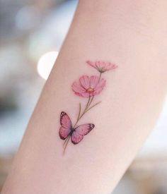Simple Butterfly Tattoo, Butterfly Tattoos For Women, Wrist Tattoos For Women, Butterfly Tattoo Designs, Tattoos For Women Small, Realistic Butterfly Tattoo, Pretty Tattoos For Women, Pink Butterfly, Flower Tattoo Women