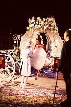 Fairytale  wedding carriage … Wedding ideas for brides, grooms, parents & planners https://itunes.apple.com/us/app/the-gold-wedding-planner/id498112599?ls=1=8 … plus how to organise an entire wedding, within ANY budget ♥ The Gold Wedding Planner iPhone App ♥  http://pinterest.com/groomsandbrides/boards/  For more #Wedding #Ideas & #Budget #Options
