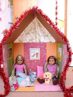 American Girl Doll Play: Doll Craft - Make a Clubhouse for Your Dolls American Girl House, American Girl Parties, American Girl Crafts, American Girls, Crafts For Girls, Diy For Girls, Crafts To Make, Kids Crafts, Ag Doll Crafts