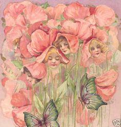 SCHMUCKER EASTER FANTASY SWEET PEA FLOWER FACES,WINSCH,1910 POSTCARD