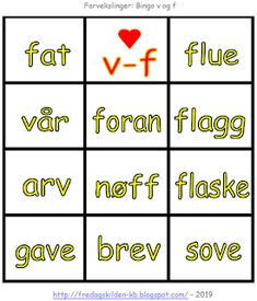 FredagsKilden: NORSK - Undervisningsmateriell 1-17 Bingo