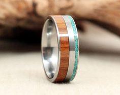Argentine Lignum Vitae Wood Ring and Turquoise Deconstructed Titanium Ring