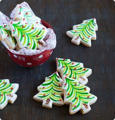 painted christmas tree cookies ...so easy and festive! from @Bridget edwards {bake at 350}
