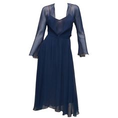 Vintage Halston Navy Blue Chiffon Slip Dress | From a collection of rare vintage evening dresses at https://www.1stdibs.com/fashion/clothing/evening-dresses/