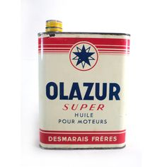 French Olazur Super 7 Motor Oil Tin Can, Desmarais Frères, Vintage White Blue Red Fuel Can, Classic Car, Garage Collectible,