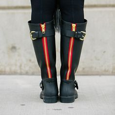 Love these Steve Madden rain boots! The red zipper and buckles are amazing!