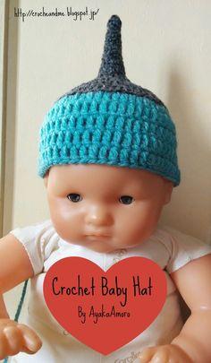 Crochet and Me かぎ針編みの編み図と編み方: かぎ針で編む簡単な赤ちゃん用どんぐり帽子の編み方