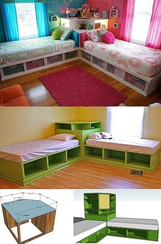 New Baby Room Twins Boys and Girls Cases 24 Ideas – … - DIY Kinderzimmer Ideen Corner Twin Beds, Bed In Corner, Ikea Twin Bed, Ikea Bunk Bed Hack, Twin Beds For Boys, Boy And Girl Shared Room, Boy Girl Room, Kids Room Bed, Kids Rooms