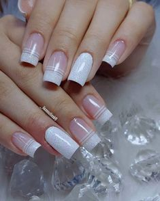 Glitter French Manicure, French Tip Nails, Black Acrylic Nails, Summer Acrylic Nails, Manicure Colors, Nail Manicure, Manicure Ideas, Nail Ideas, Bad Nails