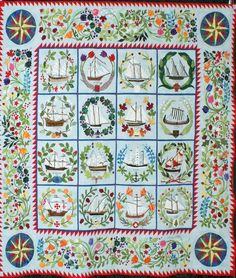 """'Ladies of the Seas' - 87"""" x 87"""" - by Ann Miley, quilted by Denise Green. 2012 Lakeview Quilters Guild."""