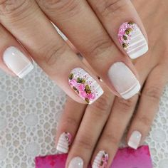 French Manicure Nails, Glam Nails, Manicure And Pedicure, Cute Nail Art, Cute Nails, Pretty Nails, Hair And Nails, My Nails, Magic Nails