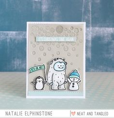 "Hello and welcome to day 1 of the October releases from Neat and Tangled . Today we're showcasing the adorable ""Get Yeti"" stamp set and mat. Christmas Card Crafts, Christmas Tag, Neat And Tangled, Paper Crafts, Diy Crafts, Little Critter, Clear Stamps, Cardmaking, Crafty"