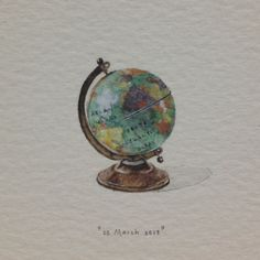 Day 84 : Tickets booked - we're going to Europe in May! 27 x 20 mm. #365paintingsforants #globe #travel #europe (at Vredehoek)
