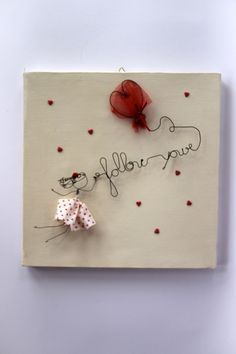 Canvas with Wire Doll and Writing di filidipoesia su Etsy… Wire Crafts, Rock Crafts, Fun Crafts, Diy And Crafts, Craft Sale, Beads And Wire, Wire Art, Be My Valentine, Craft Fairs