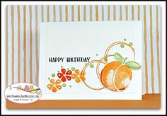 How to do the Rock n Roll Stamping technique using Stampin Up Fresh Fruit stamp set, card by Sandi @ www.stampinwithsandi.com