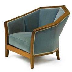 Artwork by Pierre Chareau, ARMCHAIR, MODEL NO. MF 172, Made of walnut and fabric upholstery