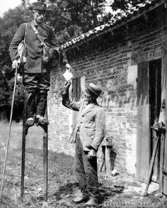 In areas of rural France, stilts were used as a faster means of getting around than walking - here, by a mailman. Experienced stilt walkers could allegedly equal the speed of a trotting horse.