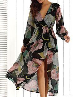 V-Neck Flower Print Maxi Dress