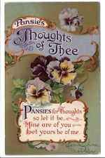 "Greetings postcard: ""Thoughts of Thee"" w/Yellow & Purple Pansies 1910"