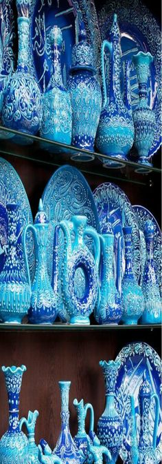 Turkish Blue Glazed Pottery - Arasta Bazaar in Istanbul, Turkey