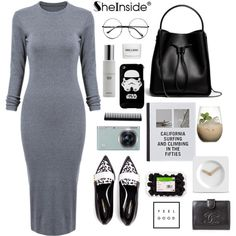 sheinside grey dress by itsmytimetoshinecoco on Polyvore featuring Nicholas Kirkwood, 3.1 Phillip Lim, Chanel, Colbert MD, GHD, LEFF Amsterdam, Samsung, Patagonia and Margarita