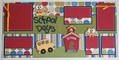 12 x 12 premade scrapbook pages School Days. $30.00, via Etsy.