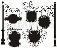 hanging signs, vinyl-ready, ornaments, ornamental art, decorative vector images, vector cliparts, cuttable graphics