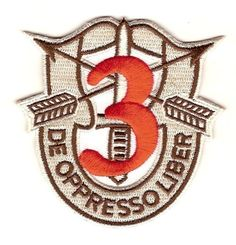 """3rd Special Forces Group Crest Desert Red 3 Patch  3rd Special Forces Group Crest desert version with red numeral """"3"""" patch - """"DE OPPRESSO..."""