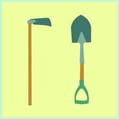 Hoe & Shovel Illustration
