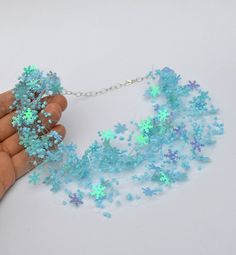 Snowflake necklace Beaded Jewelry Winter Find by ensaga on Etsy