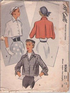 MOMSPatterns Vintage Sewing Patterns - McCall's 8068 Vintage 50's Sewing Pattern GORGEOUS Lucy New Look Cropped Pleated Swing Back Jacket, Wing Collar Coat, French Cuffs Size 14