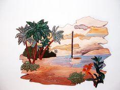 Landscape Ocean Scene Wall Art Wood Sculpture by Galleryatkingston