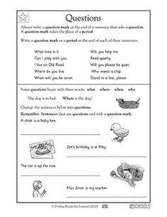 Question Mark Worksheets For Kindergarten