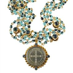 Virgins Saints and Angels San Benito Magdalena Necklace in Gold with Blue Tortoise and Black Diamond
