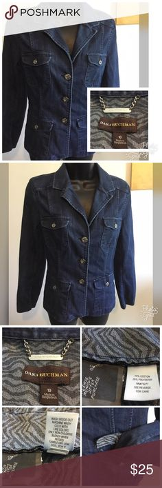 """Dana Buchman Jean Jacket Dana Buchman blue jean jacket. Beautiful silver buttons down the front, pockets and sleeves. Excellent condition. Measures 18"""" across the chest and 23"""" long. Dana Buchman Jackets & Coats Jean Jackets"""